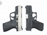 Compare size of G43 to M&P Shield, Glock Full Top Serrations, Enhanced Side Serrations